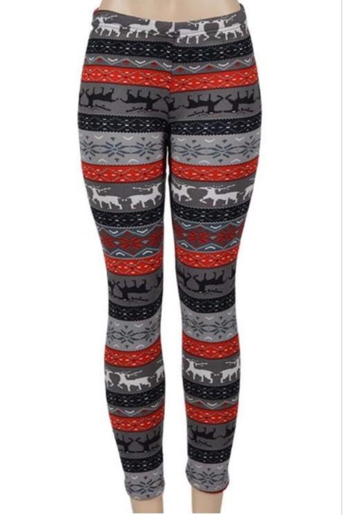 Red/White/Black Reindeer Fur-Lined Leggings