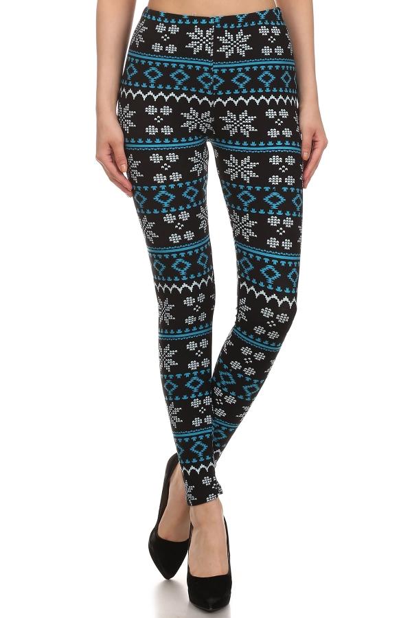 Black/Blue Snowflake Print Leggings