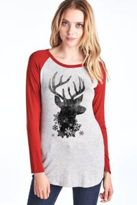 Long Sleeve Tee with Deer Head and Snowflake Print