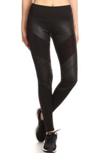 Moto Fitness Legging  w/ Mesh Pintuck Panels