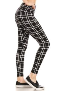ShoSho FLEECE Plaid High-Waist Leggings