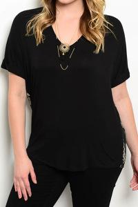 Printed Black Contrast Top