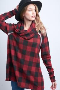 Long Sleeved Cowl-Neck Plaid Top