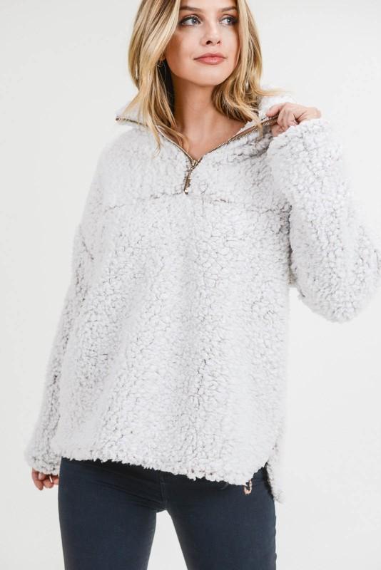 Women's Faux Fur Zipper Front Neck Band Pullover Top