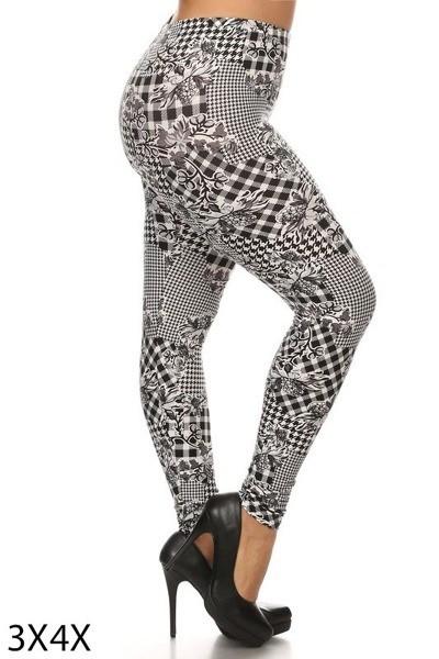 Multi-Print Plus Size Leggings Style 1016