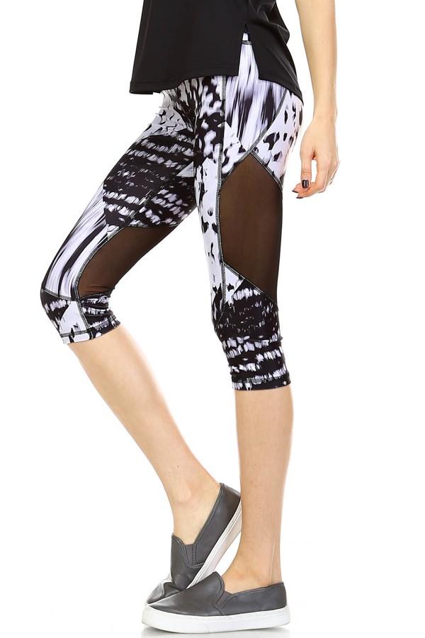 Mesh Panel Capri Leggings Style 1024
