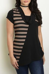 Striped Cowl Neck Knit Pullover - Plus Sized