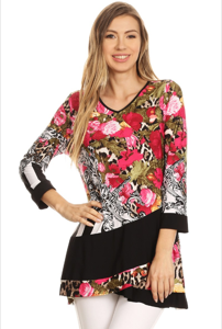Floral Print Top with Crossover Detail