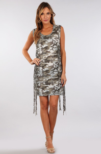 31% OFF!!! Sleeveless Camo Dress With Fringe
