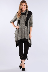 Marled Knit Tunic With Matching Scarf