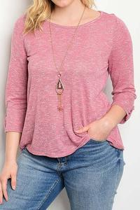 PLUS Long Sleeve Scoop Neck With Necklace